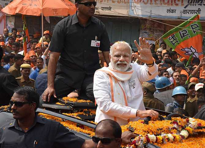 Prime Minister Narendra Modi at a road show in Varanasi on March 4, 2017