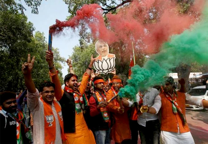 BJP celebrates in Uttar Pradesh