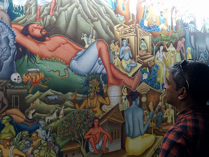 P K Sadanandan's mural, measuring 15 m x 3 m is an on-going work of art the Kochi Biennale 2016-2017