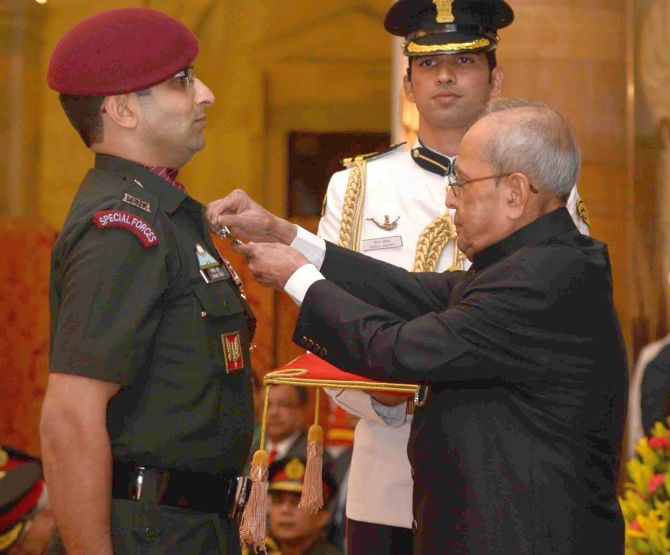 Major Rohit Suri of the 4 Para (Special Forces) was awarded the Kirti Chakra for showing exemplary leadership and courage in the surgical strike. Photographs: Press Information Bureau