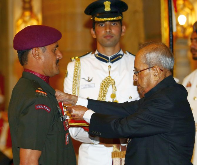 Naib Subedar Vijay Kumar was awarded the Shaurya Chakra for his role in the surgical strikes
