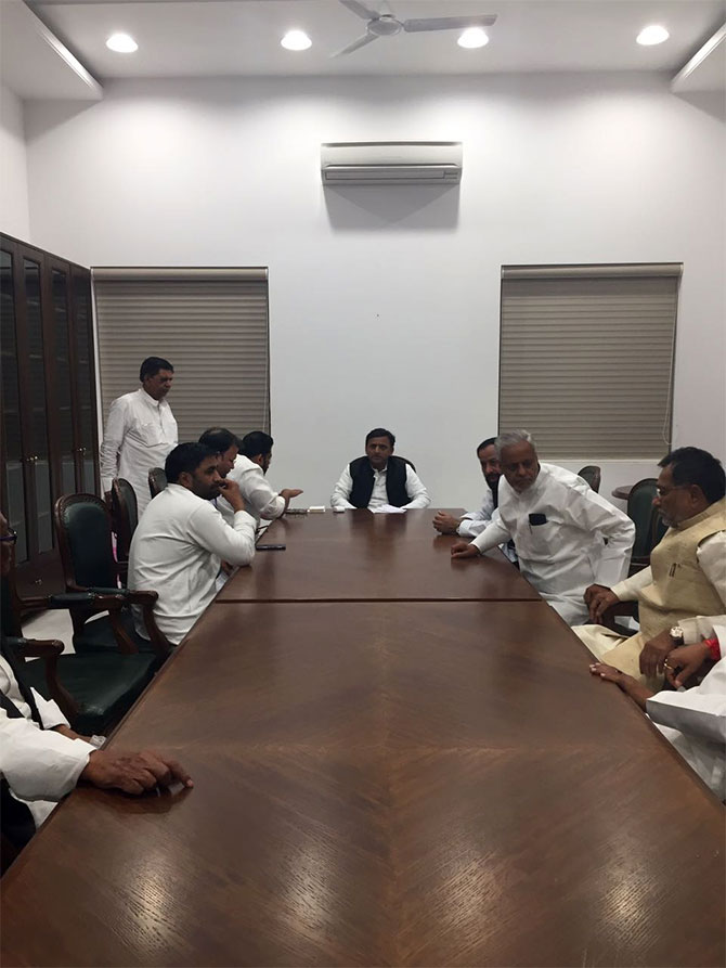 Akhilesh Yadav, the Samajwadi Party's national president, with SP leaders from all over the country, at his Lucknow office, March 26, 2017. Photograph: Archana Masih/Rediff.com