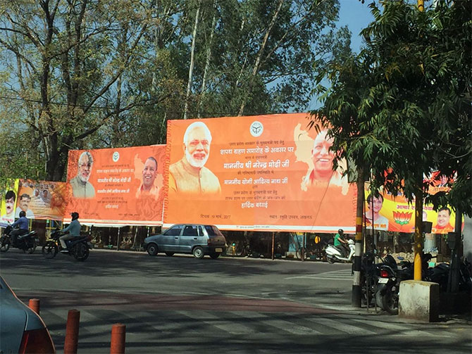 Posters felicitating UP Chief Minister Yogi Adityanath in Lucknow. Photograph: Archana Masih/Rediff.com