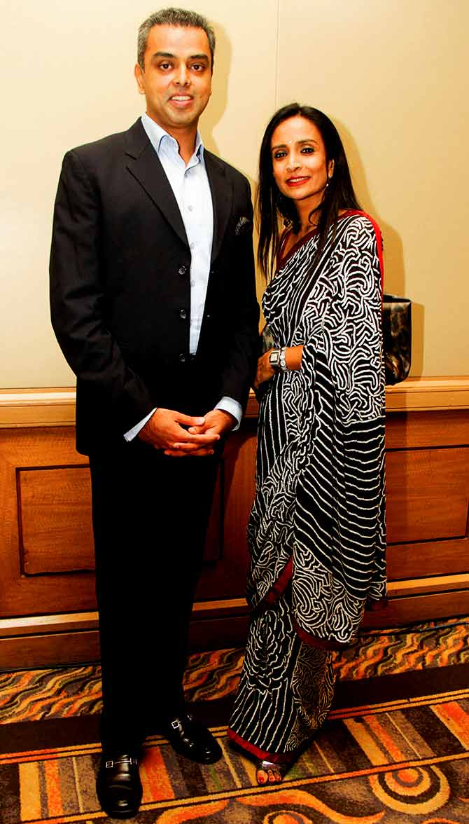 Suchitra takes a break from her hosting duties and gets a picture clicked with Congress leader Milind Deora