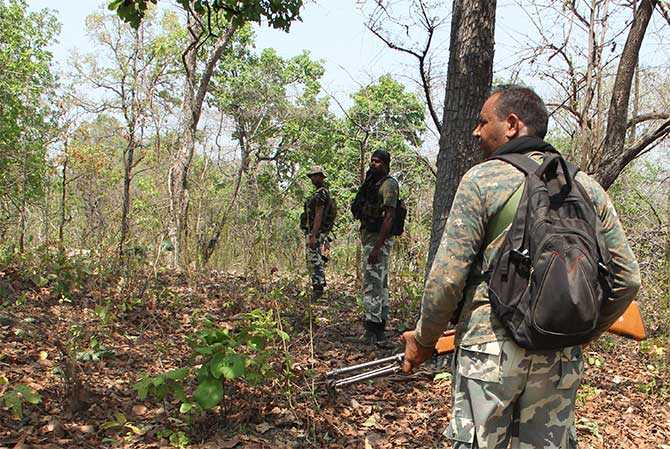 A CRPF party moving into the jungles between Dornapal and Jagargonda on an area domination exercise. 25 jawans of the 74th Battalion of the CRPF were killed by Maoists in an ambush near Burkapal village on April 24.