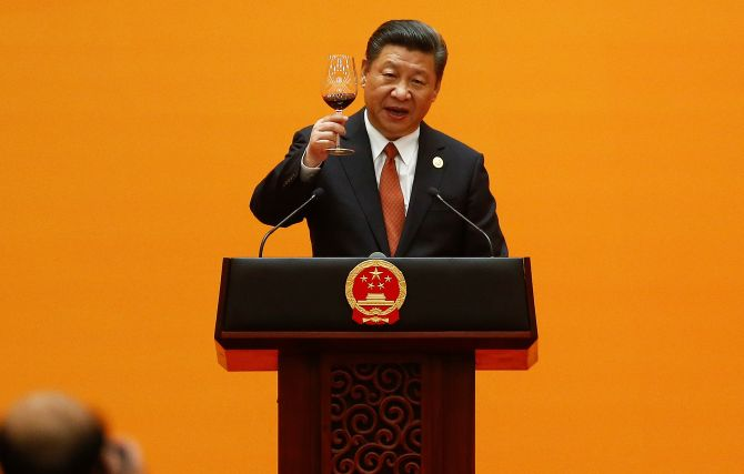 Chinese President Xi Jinping raises a toast during the welcoming banquet for the Belt and Road Forum at the Great Hall of the People in Beijing, May 14, 2017. Photograph: Damir Sagolj/Reuters
