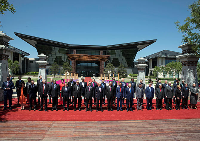 Leaders attending the Belt and Road Forum pose for a photograph at the Yanqi Lake venue on the outskirts of Beijing, May 15, 2017. Photograph: Ng Han Guan/Reuters