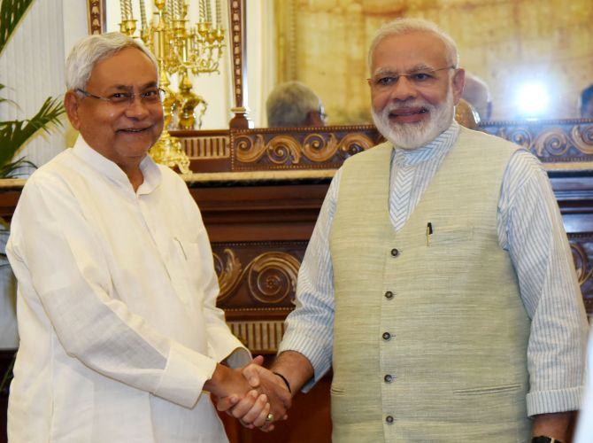 Prime Minister Narendra D Modi with Bihar Chief Minister Nitish Kumar in New Delhi, May 27, 2017