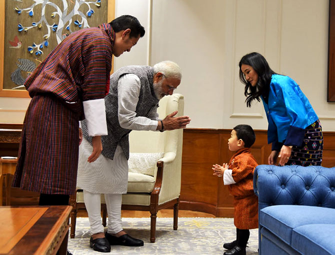 Bhutan's King Jigme Khesar Namgyel Wangchuck, Queen Jetsun Pema Wangchuck and Crown Prince Jigme Namgyal Wangchuk meet Prime Minister Narendra D Modi at 7, Lok Kalyan Marg, New Delhi, November 1, 2017. Photographs: Press Information Bureau