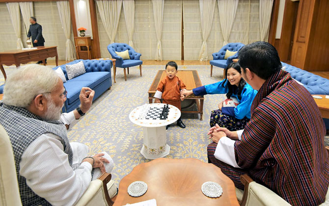 Prime Minister Narendra D Modi with Bhutanese King Jigme Khesar Namgyel Wangchuck, Queen Jetsun Pema Wangchuck and Crown Prince Jigme Namgyal Wangchuk at 7, Lok Kalyan Marg, New Delhi, November 1, 2017.