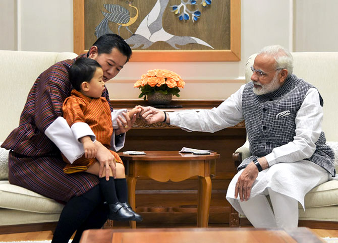 Prime Minister Narendra D Modi with Bhutanese King Jigme Khesar Namgyel Wangchuck and Crown Prince Jigme Namgyal Wangchuk at 7, Lok Kalyan Marg, New Delhi, November 1, 2017.