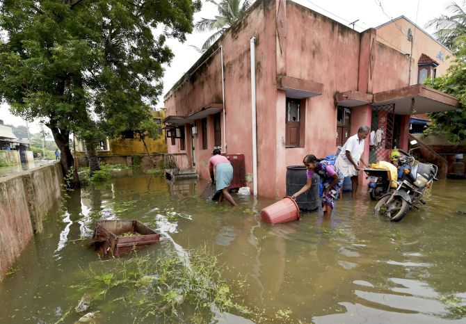 A flooded area in Chennai following heavy rains, November 3, 2017. Photograph: R Senthil Kumar/PTI Photo