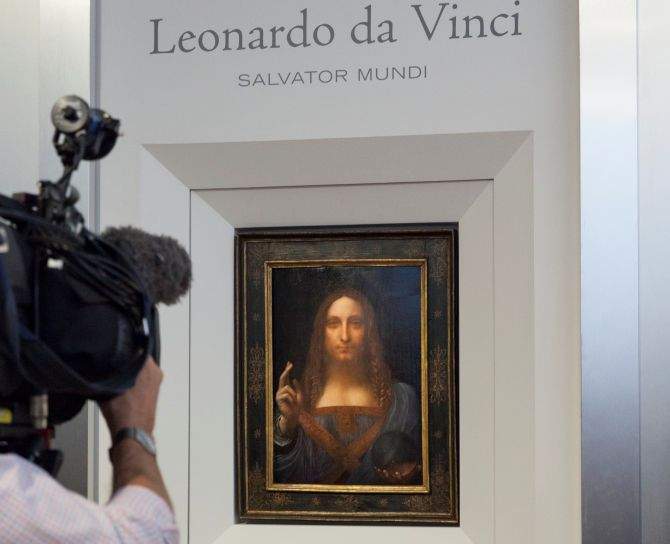 Salvator Mundi, now the most expensive painting in the world. Photograph: Christie's New York/via Reuters