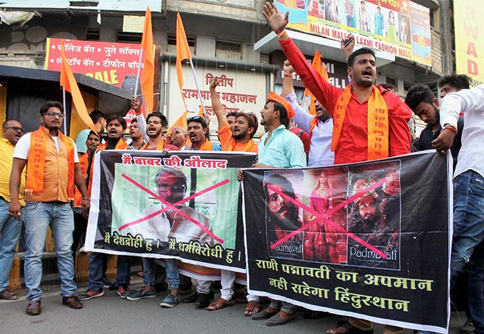 A protest against film-maker Sanjay Leela Bhansali's Padmavati. Photograph: PTI Photo