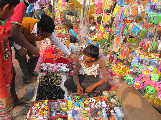 Sindoor and mud whistles are a unique feature of the mela