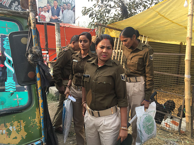 Police personnel at the fair