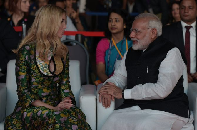 Ivanka Trump with Prime Minister Narendra Modi at the Global Entrepreneurship Summit in Hyderabad. She showered generous praises on the Prime Minister in her keynote address. She termed Modi's achievement as 'truly extraordinary'. Photograph: @MEAPhotogallery/Flickr