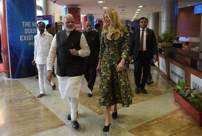 Ivanka Trump and Prime Minister Narendra D Modi at GES 2017. Photograph: @MEAPhotogallery/Flickr