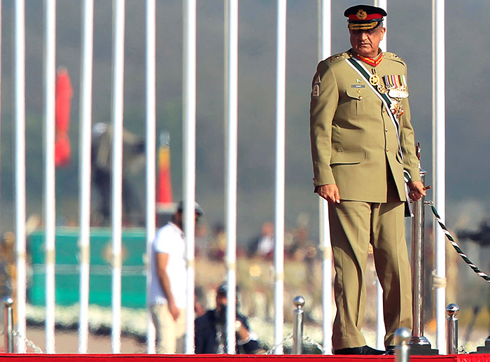 Pakistan's army chief General Qamar Javed Bajwa arrives to attend the Pakistan day military parade in Islamabad, March 23, 2017. Photograph: Faisal Mahmood/Reuters