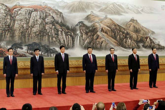 China's new Politburo Standing Committee members, from left to right: Han Zheng, Wang Huning, Li Zhanshu, Xi Jinping, Li Keqiang, Wang Yang and Zhao Leji. Photograph: Jason Lee/Reuters