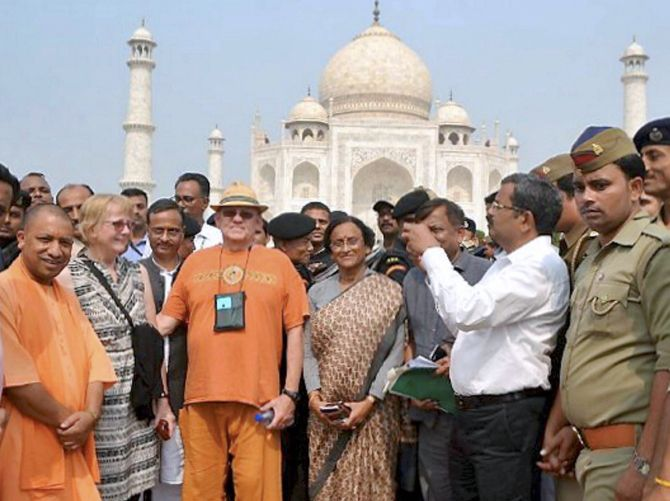 UP Chief Minister Yogi Adityanath at the Taj Mahal