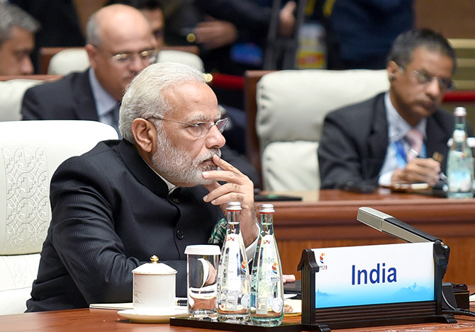 Prime Minister Narendra D Modi at the BRICS summit in Xiamen, China, the day after the reshuffle. Photograph: Press Information Bureau