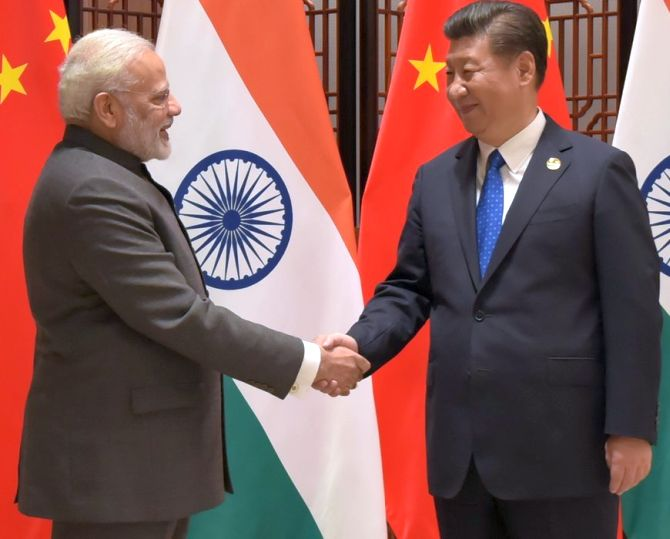 The last time they met: Prime Minister Narendra D Modi greets Chinese President Xi Jinping on the sidelines of the BRICS summit in Xiamen, September 5, 2017. Photograph: Press Information Bureau