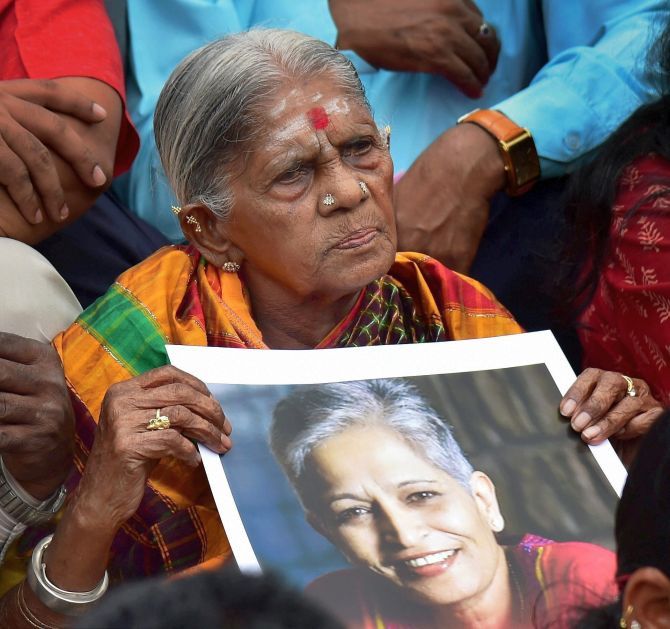 At a protest in Bengaluru. Photograph: Shailendra Bhojak/PTI Photo