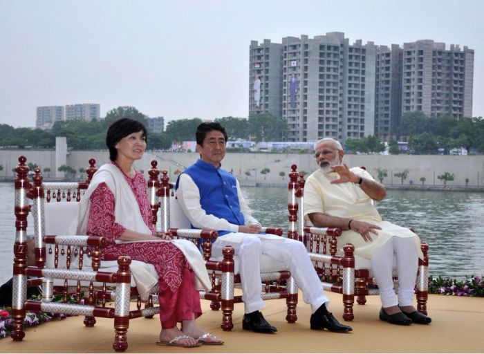 Japan's Prime Minister Shinzo Abe and his wife Akie with Prime Minister Narendra D Modi at the Sabarmati riverfront in Ahmedabad, September 14, 2017. Photograph: @MEAIndia/Twitter