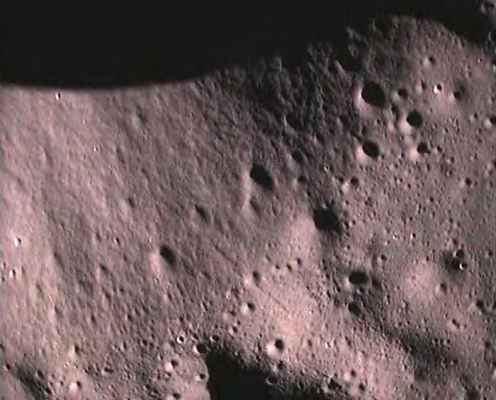 Image sent by Chandrayaan-1 which detects water in the uppermost soil of the moon.