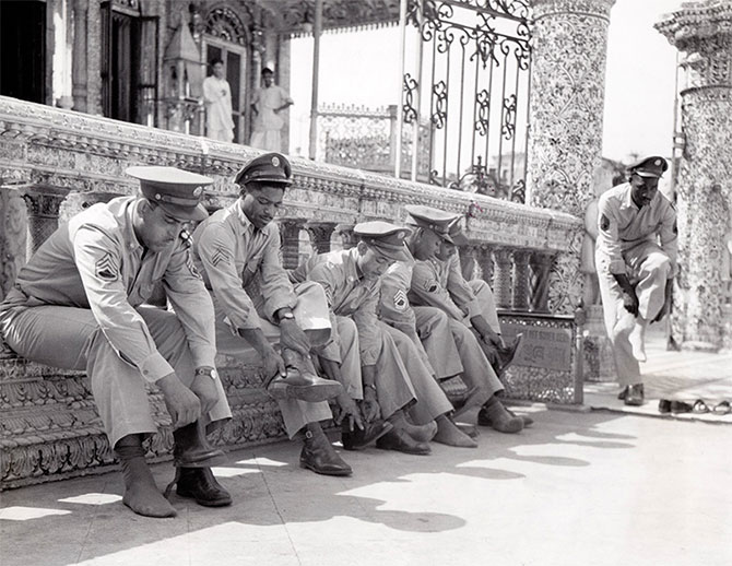 American soldiers at a Jain temple