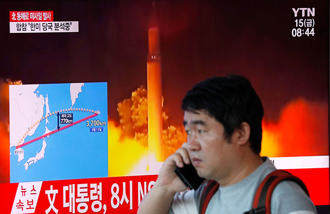 A man watches a television broadcast in Seoul, South Korea, September 15, 2017 about North Korea firing a missile that flew over Japan's Hokkaido island. Photograph: Kim Hong-Ji/Reuters