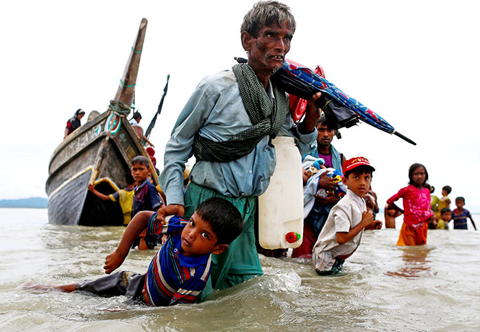 Rohingya refugees on the Myanmar-Bangladesh border