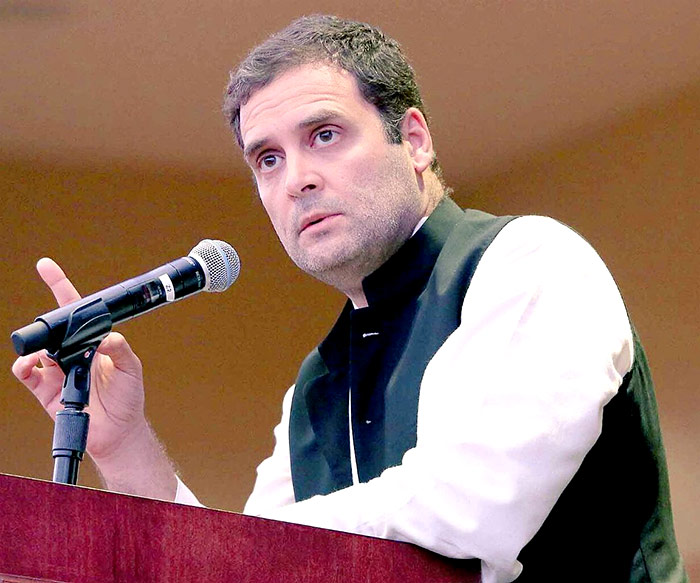 Rahul Gandhi speaks at the New York event
