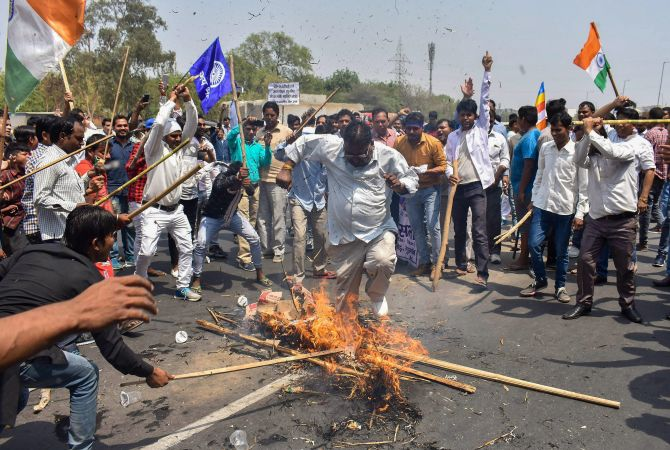During the Bharat Bandh, protesters block the Delhi-Gurugram Expressway, Gurugram, Haryana, April 2, 2018. Photograph: PTI Photo