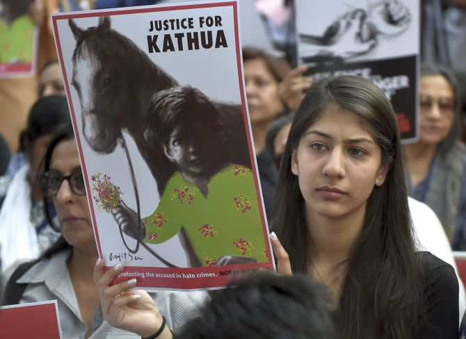 The protest in New Delhi about the Kathua and Unnao rapes