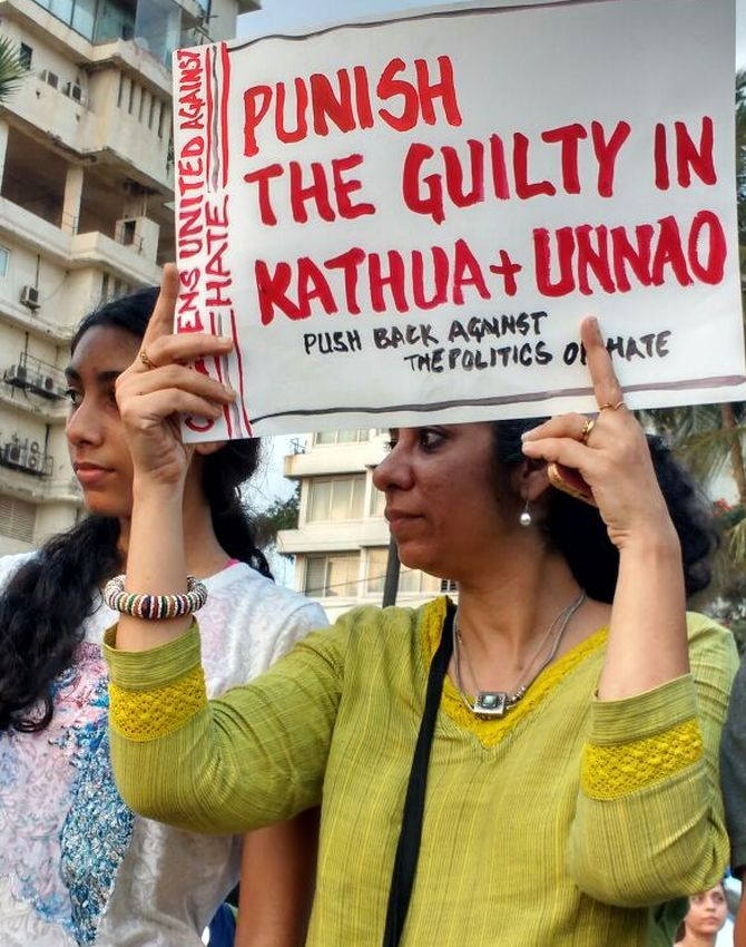 A protest in Mumbai against the Kathua and Unnao rapes. Photograph: Uttam Ghosh/Rediff.com