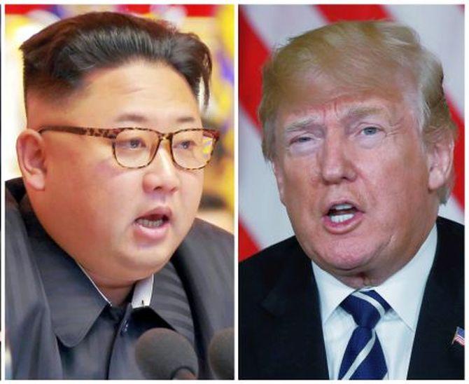 83877e3e3e53 A combination photo shows North Korean leader Kim Jong Un and US President  Donald Trump. Text. Photograph  Reuters