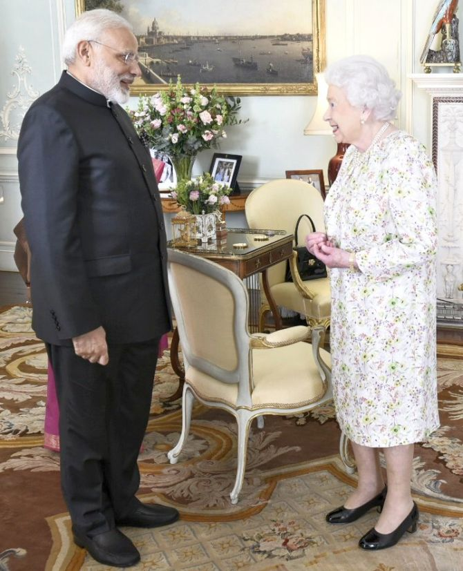 Queen Elizabeth with Prime Minister Narendra D Modi at Buckingham Palace, April 18, 2018