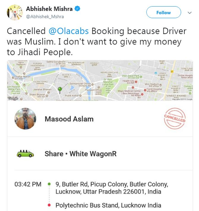 ola muslim A man tweeted saying he cancelled an ola cab because his driver was a muslim and he didn't want to give money to jihadist twitter reacts to his comment.