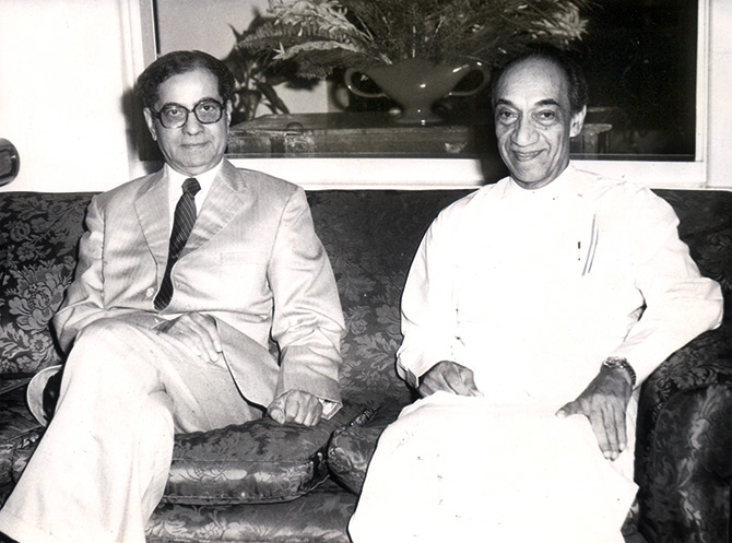 Gopalswamy Parthasarathi -- 'GP' --  then prime minister Indira Gandhi's special envoy, left, with then Sri Lankan president J R Jayewardene in Colombo, August 26, 1983.