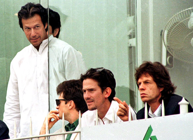 Imran Khan at the cricket World Cup final between Australia and Sri Lanka at the Gaddafi stadium in Lahore, March 17, 1996. Watching the game avidly, seated right, is Rolling Stones legend Mick Jagger.
