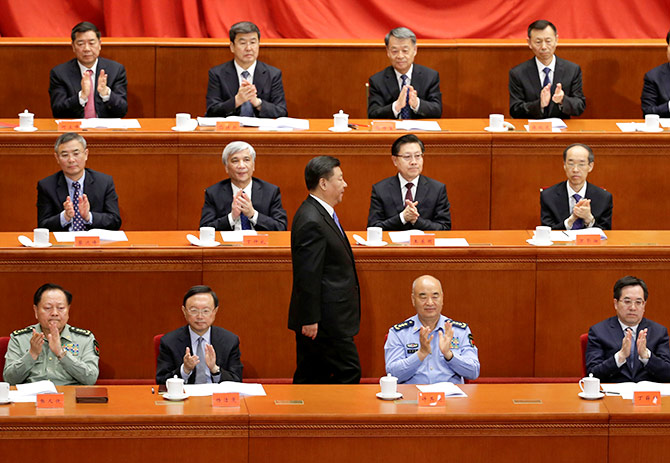 Xi Jinping is applauded by China's leaders after his speech saluting Karl Marx on his 200th birth anniversary, Beijing, May 4, 2018. Photograph: Jason Lee/Reuters