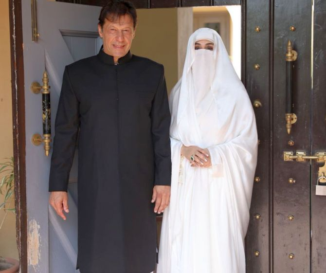 Imran Khan and wife Bushra Bibi before the oath taking ceremony on August 18, 2018. The third Mrs Khan is an orthodox Muslim who does not show her face to anyone but her husband. Notice her well manicured fingers though! Photograph: Kind courtesy @PTIofficial/Twitter