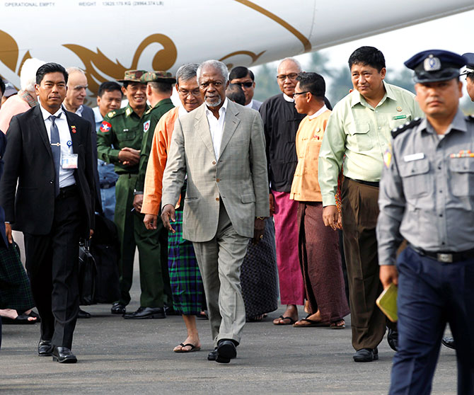 Former UN secretary-general Kofi Annan arrives at Sittwe airport, Rakhine state, Myanmar, in his capacity as the Myanmar government-appointed chairman of the advisory commission on Rakhine state, December 2, 2016. Photograph: Photograph: Soe Zeya Tun/Reuters