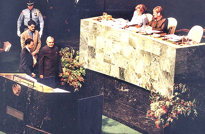 Then prime minister Atal Bihari Vajpayee arrives to address the Millennnium Summit at the United Nations, September 8, 2000.