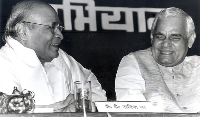 Then prime minister P V Narasimha Rao, left, and Bharatiya Janata Party leader Atal Bihari Vajpayee at an event in New Delhi in the early 1990s where an anthology of Vajpayee's poems was released