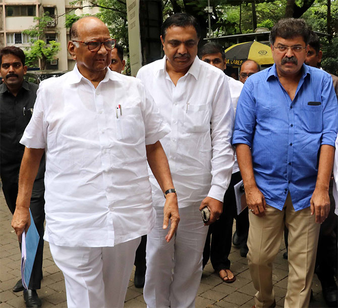 Nationalist Congress Party leader Sharad Pawar arrives for an important party meeting in Mumbai, August 27, 2018. Photograph: Arun Patil