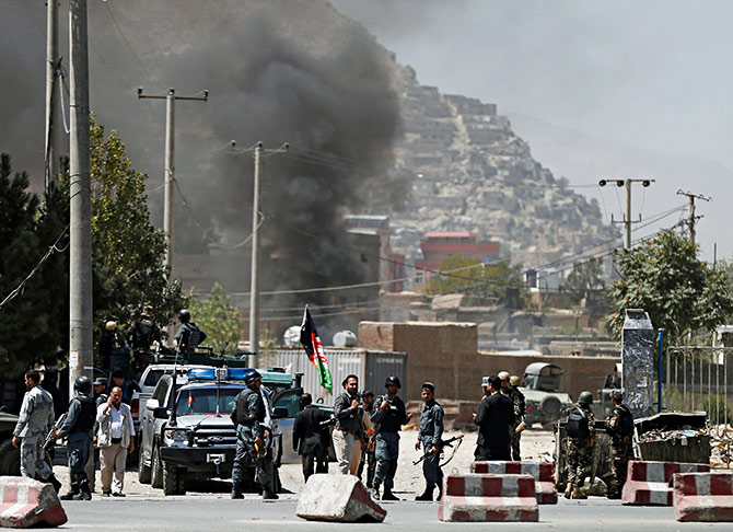 Smoke rises from the site of an attack in Kabul, August 21, 2018. Photograph: Mohammad Ismail/Reuters