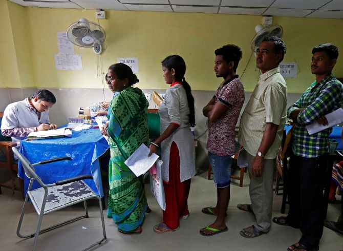 Patients queue up to meet the doctor at a hospital in India. Photograph: Rupak De Chowdhuri/Reuters